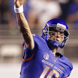 Joe Southwick (16) of the Boise State Broncos passes against BYU during NCAA football in Boise, Thursday, Sept. 20, 2012.