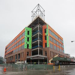 The new plaza building, from Clark and Waveland