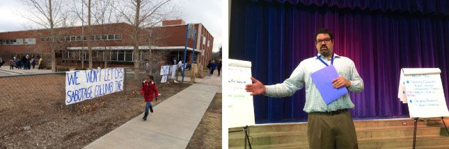 A student leaves Columbine Elementary School (left) and the school's new leader Jason Krause meets parents (right)