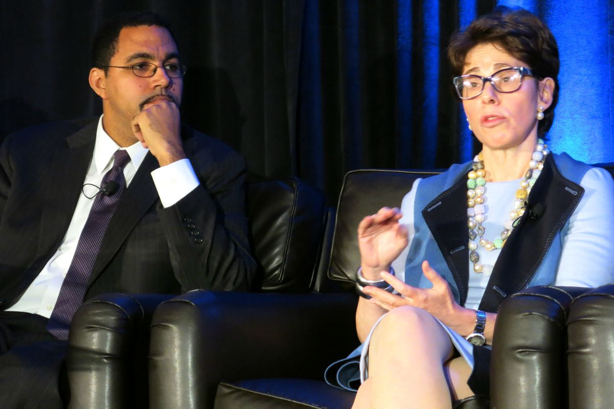 """Board of Regents Chancellor Merryl Tisch with then-State Education Commissioner John King in 2014. Tisch said she would """"think twice"""" about opting into the state tests if she were a parent with a student with special needs."""