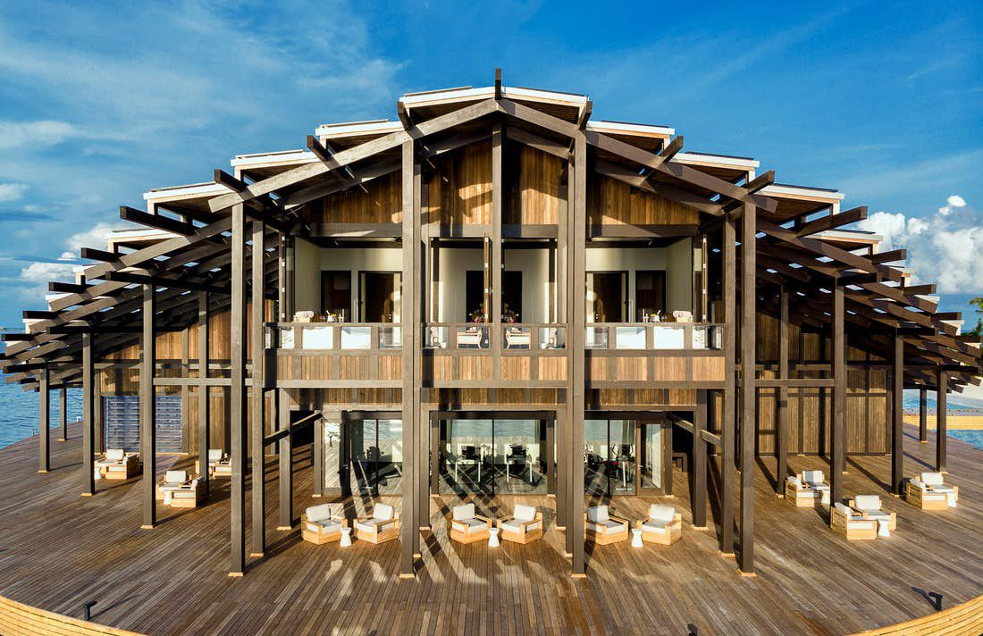 Wood building with large deck