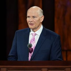 Elder Dale G. Renlund of the Quorum of the Twelve Apostles speaks during the Sunday afternoon session of the 190th Semiannual General Conference of The Church of Jesus Christ of Latter-day Saints on Oct. 4, 2020.