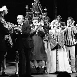 """Lyricist Sheldon Harnick joins Richard Rodgers and the cast of """"Rex"""" onstage for bows and applause on opening night at Lunt-Fontanne Theater in New York City on April 25, 1976."""