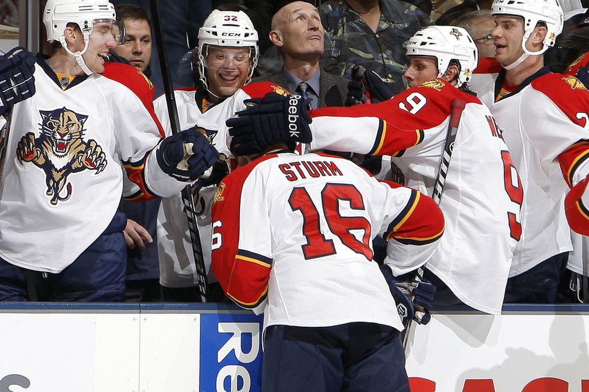 TORONTO, CANADA - NOVEMBER 8: Marco Sturm #16 of the Florida Panthers  celebrates his goal against the Toronto Maple Leafs during NHL action at The Air Canada Centre November 8, 2011 in Toronto, Ontario, Canada. (Photo by Abelimages/Getty Images)