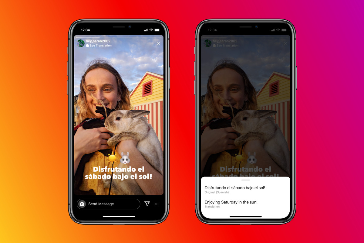 Instagram automatica translation text in stories