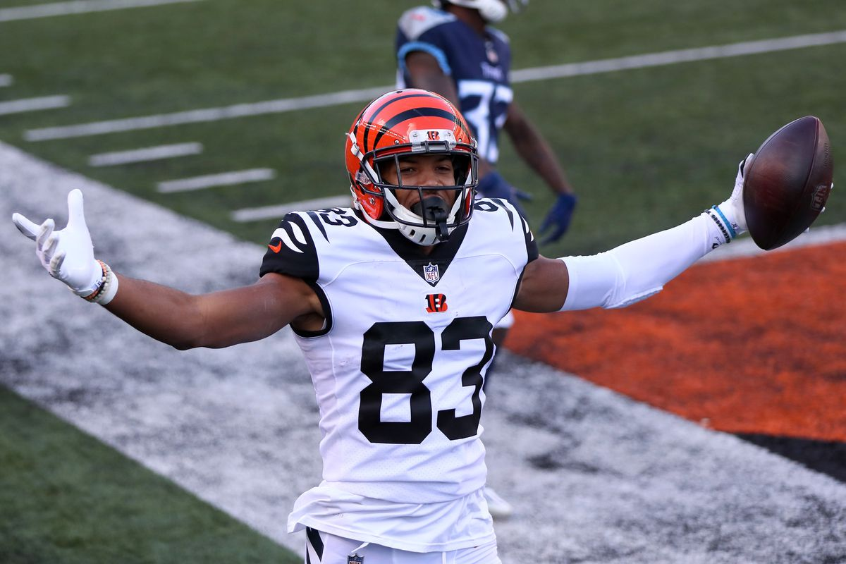 Wide receiver Tyler Boyd #83 of the Cincinnati Bengals celebrates after making a touchdown reception in the fourth quarter of the game against the Tennessee Titans at Paul Brown Stadium on November 01, 2020 in Cincinnati, Ohio.