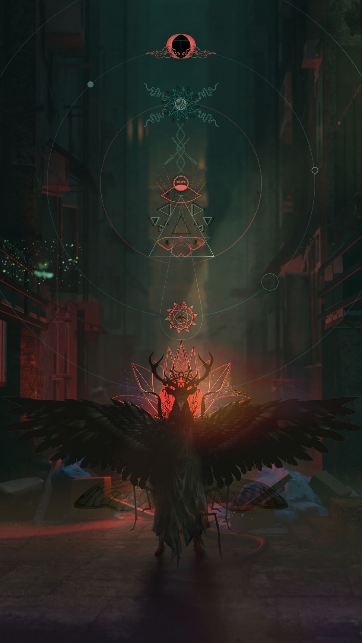 Artwork for an unannounced title from Bokeh Game Studio featuring occult symbols and a character with horns
