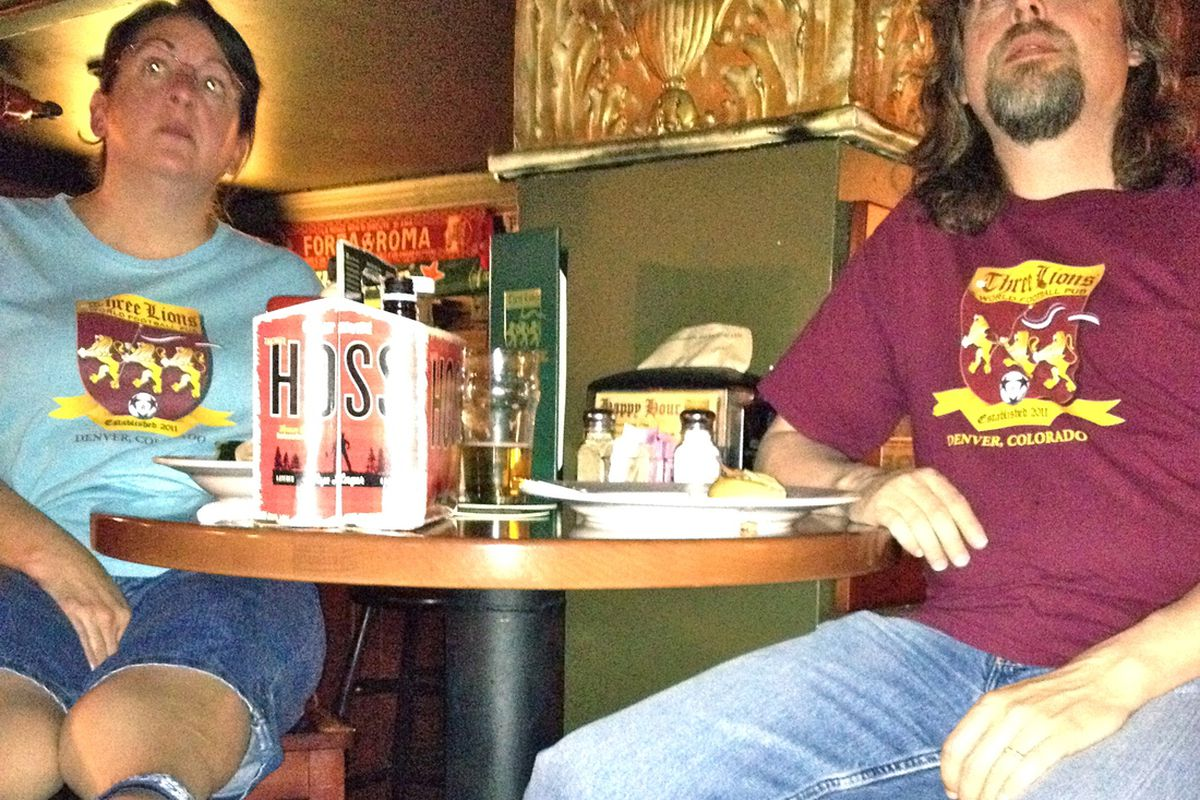 Dale and Kent Pendleton watch the Colorado Rapids vs. Montreal Impact game on May 26 at the Three Lions World Football Pub in Denver. The Pendletons are regulars at the pub, which will celebrate its first anniversary later this summer.