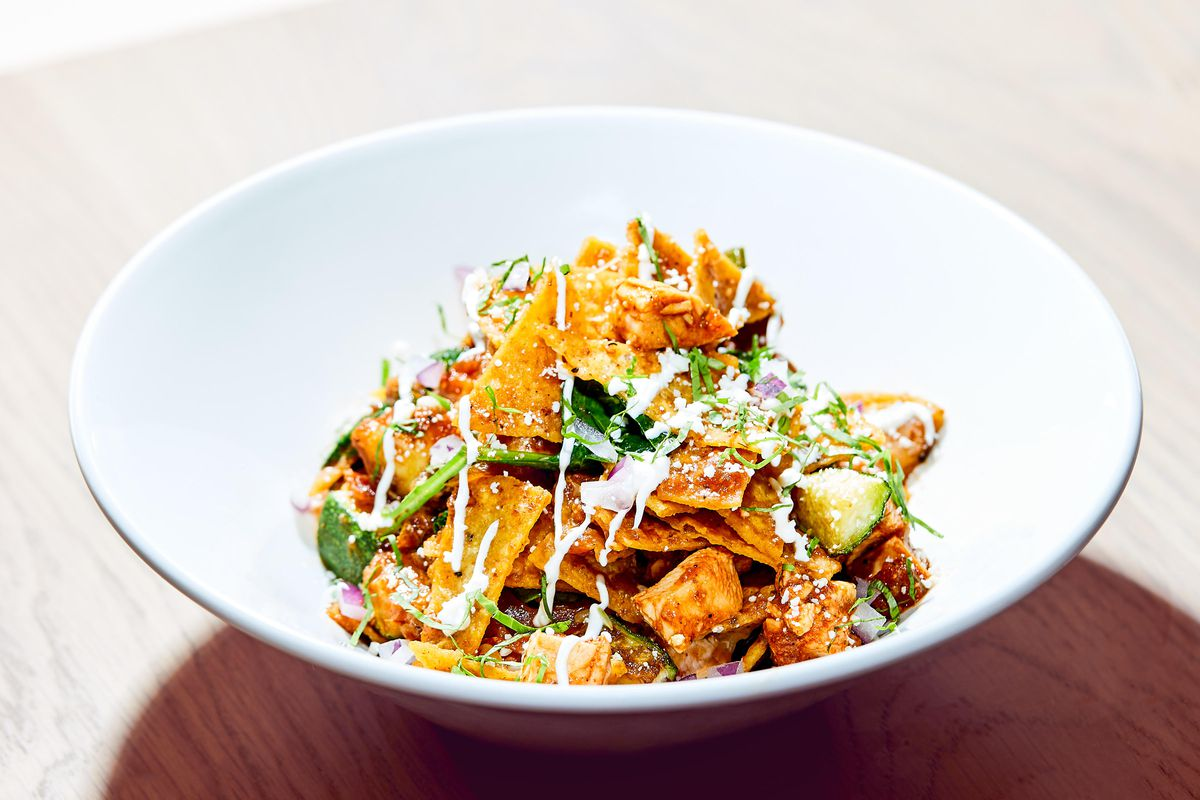 A bowl of chilaquiles.