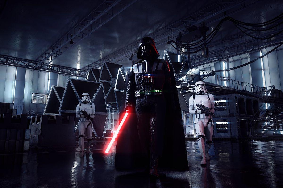 Star Wars Battlefront 2 - Darth Vader flanked by stormtroopers