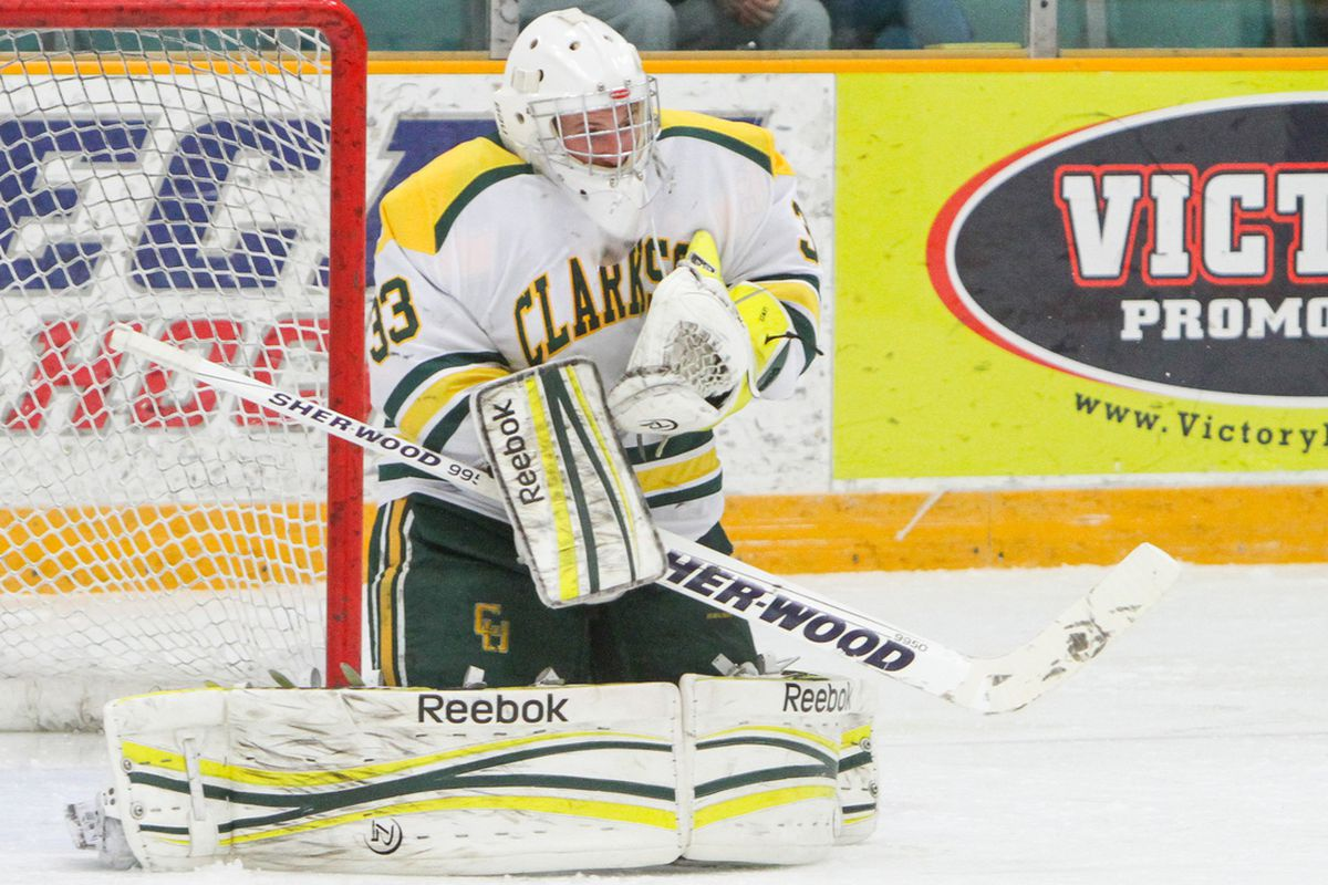 Sophomore Greg Lewis picked up the victory in net for Clarkson tonight against Harvard.