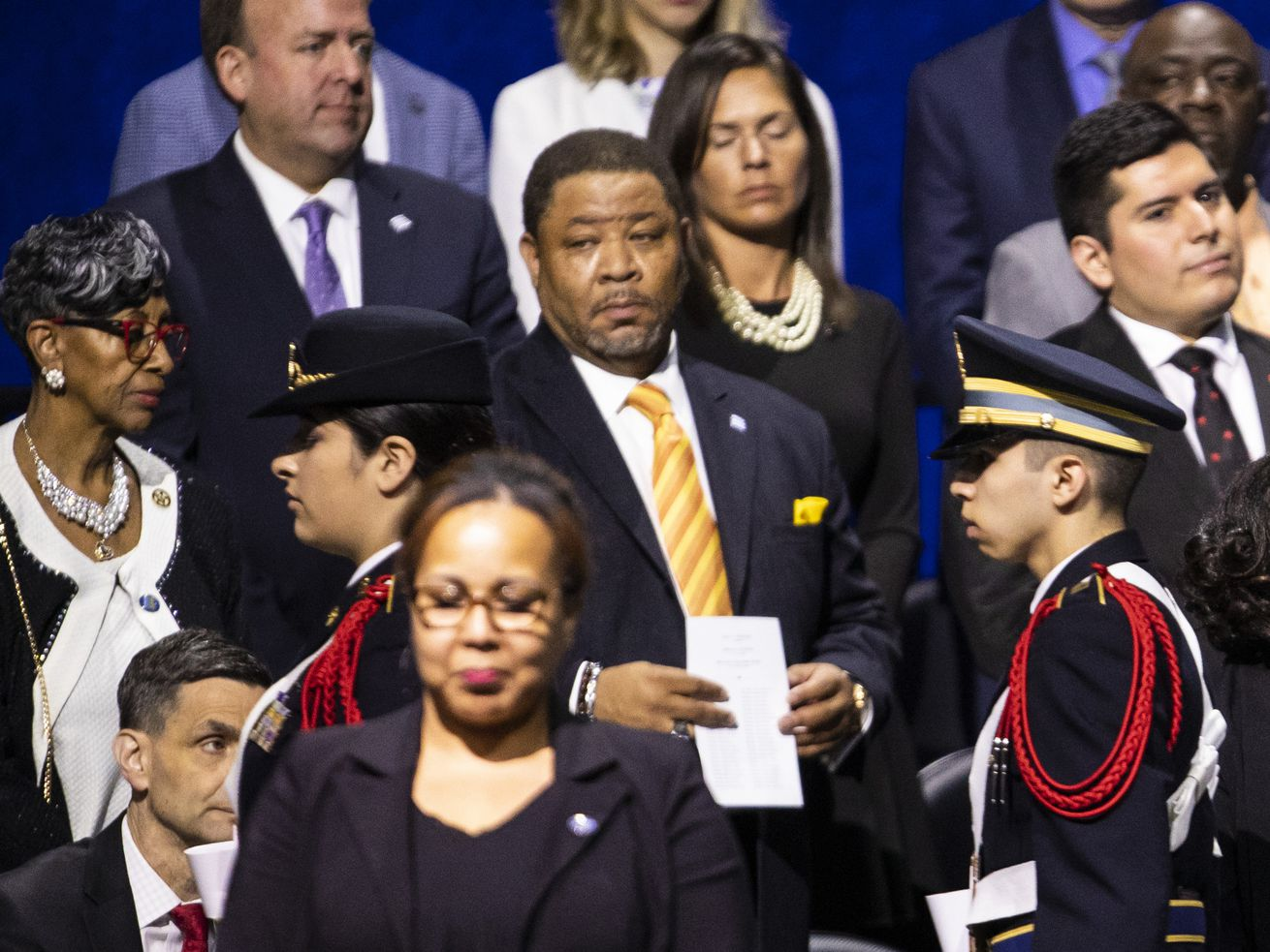 An outside audit was ordered of the Cook County Land Bank Authority as the result of an insider deal involving Chester Wilson (center, yellow tie), chief of staff to Ald. Carrie Austin (center, front).