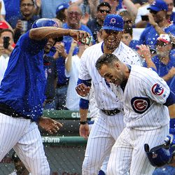 September 16: Teammates douse Miguel Montero after his walkoff homer vs. the Brewers