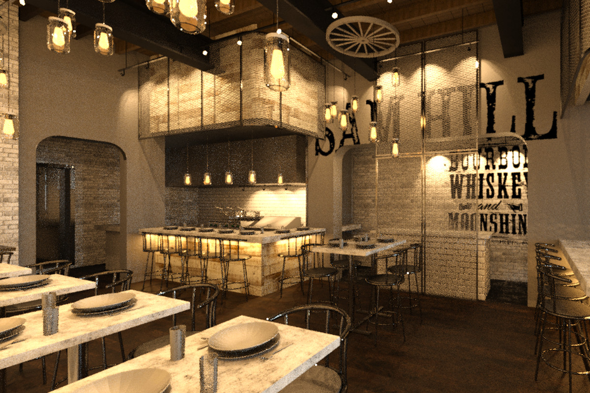 A Rendering Of The Sam Hill Eatery Saloon S First Floor Courtesy Amk Restaurant Group