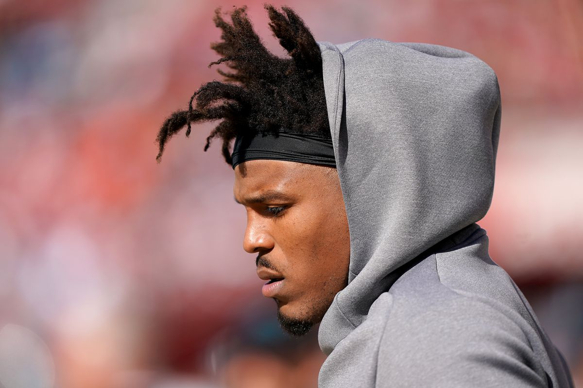 Cam Newton of the Carolina Panthers looks on from the sidelines against the San Francisco 49ers during an NFL football game at Levi's Stadium on October 27, 2019 in Santa Clara, California.