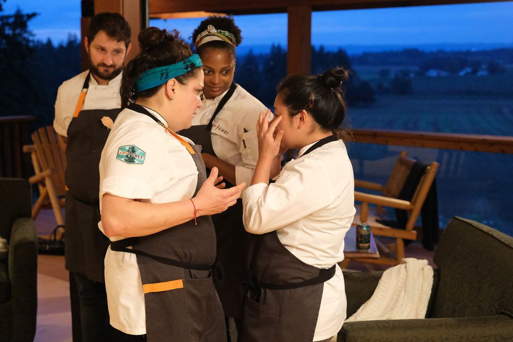From left, Gabe Erales, Maria Mazon, Dawn Burrell, and Jamie Tran on Top Chef: Portland