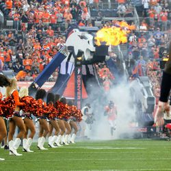 Broncos S Justin Simmons comes out of the tunnel onto the field.