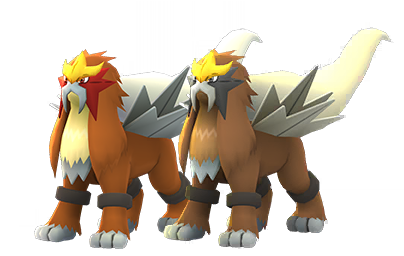 Entei and its bright form in Pokémon Go