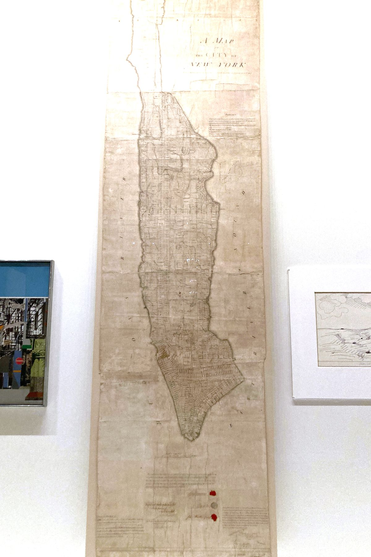 A New York Public Library exhibit includes an 1811 plan for Manhattan, Sept. 24, 2021.