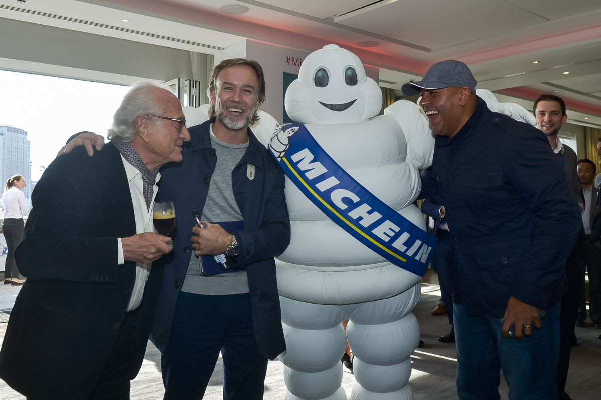 Marcus Wareing and Sat Bains at Michelin Guide's Michelin stars announcement — London restaurants find out 2019's stars 1 October