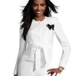 "<a href=""http://www.hm.com/us/product/01242?article=01242-A#&campaignType=K&shopOrigin=QL"">White blazer with tie</a>, $49.95"