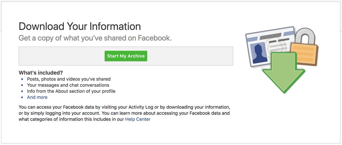 kotak pengunduhan informasi facebook