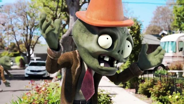 a zombie with a cone on its head, standing on a suburban street, holds up its hands