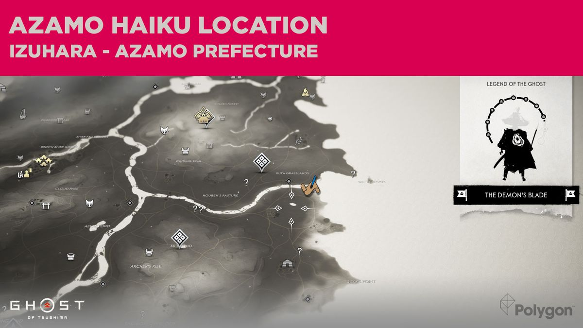 The Azamo haiku location in Ghost of Tsushima