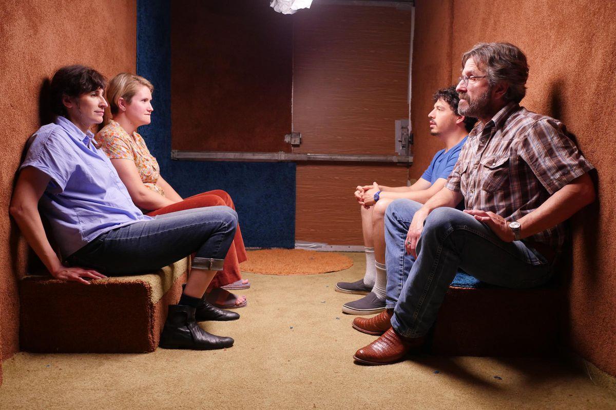 Jon Bass, Marc Maron, Michaela Watkins, and Jillian Bell in Sword of Trust.