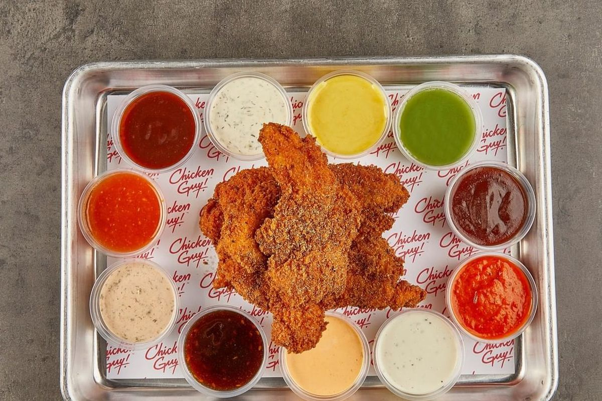 Chicken fingers and a variety of colorful sauces