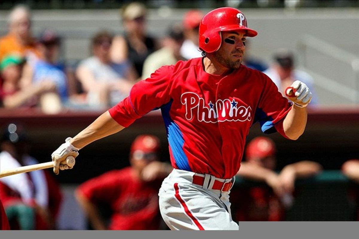 March 13, 2012; Kissimmee, FL, USA; Philadelphia Phillies left fielder Scott Podsednik (22) bats in the fifth inning of the game against the Houston Astros at Osceola County Stadium. Mandatory Credit: Daniel Shirey-US PRESSWIRE