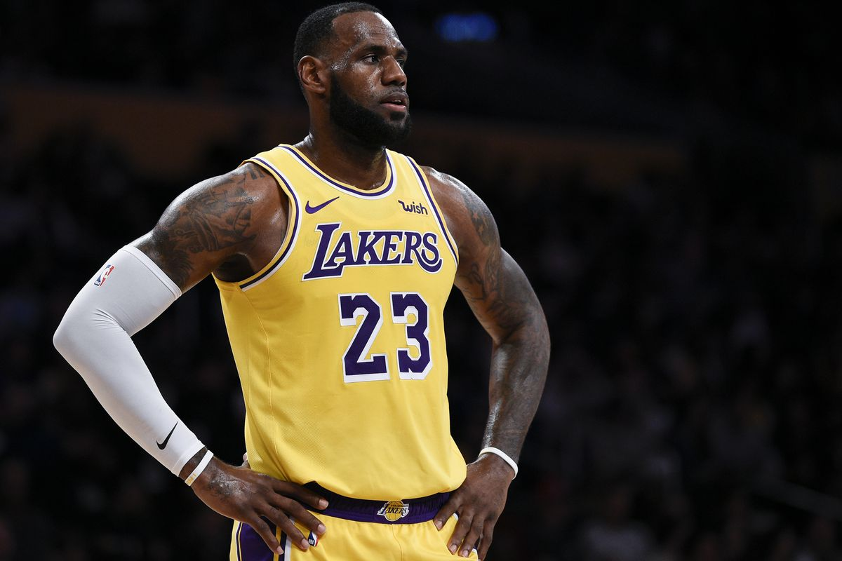 FILE - In this Oct. 4, 2018, file photo, Los Angeles Lakers forward LeBron James looks on during the first half of an NBA preseason basketball game against the Sacramento Kings in Los Angeles. The only certainty in the NBA this season is that James won't