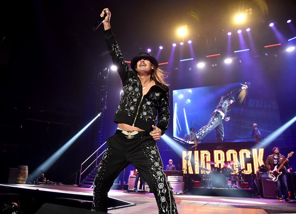 """Kid Rock performs on stage during his """"American Rock N Roll 2018"""" tour at Prudential Center Practice Facility on March 9 in Newark, New Jersey. 