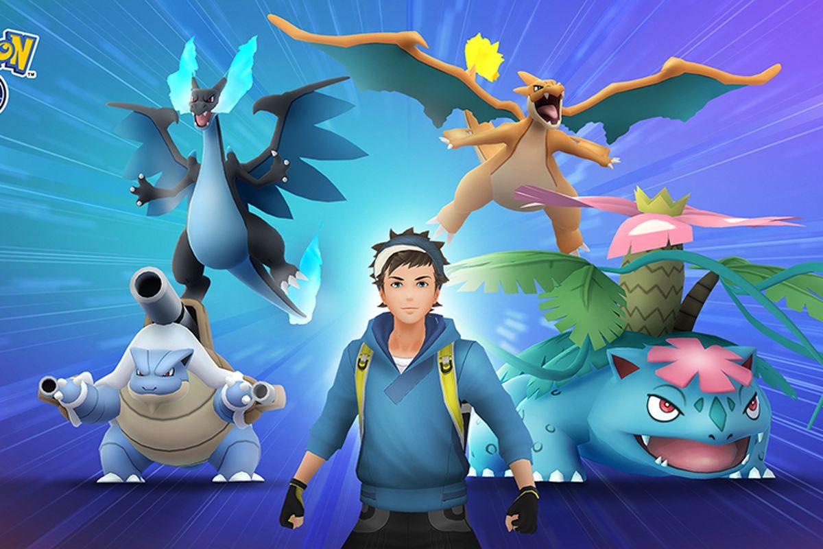A Pokémon trainer stands in front of four Mega Evolved Pokémon