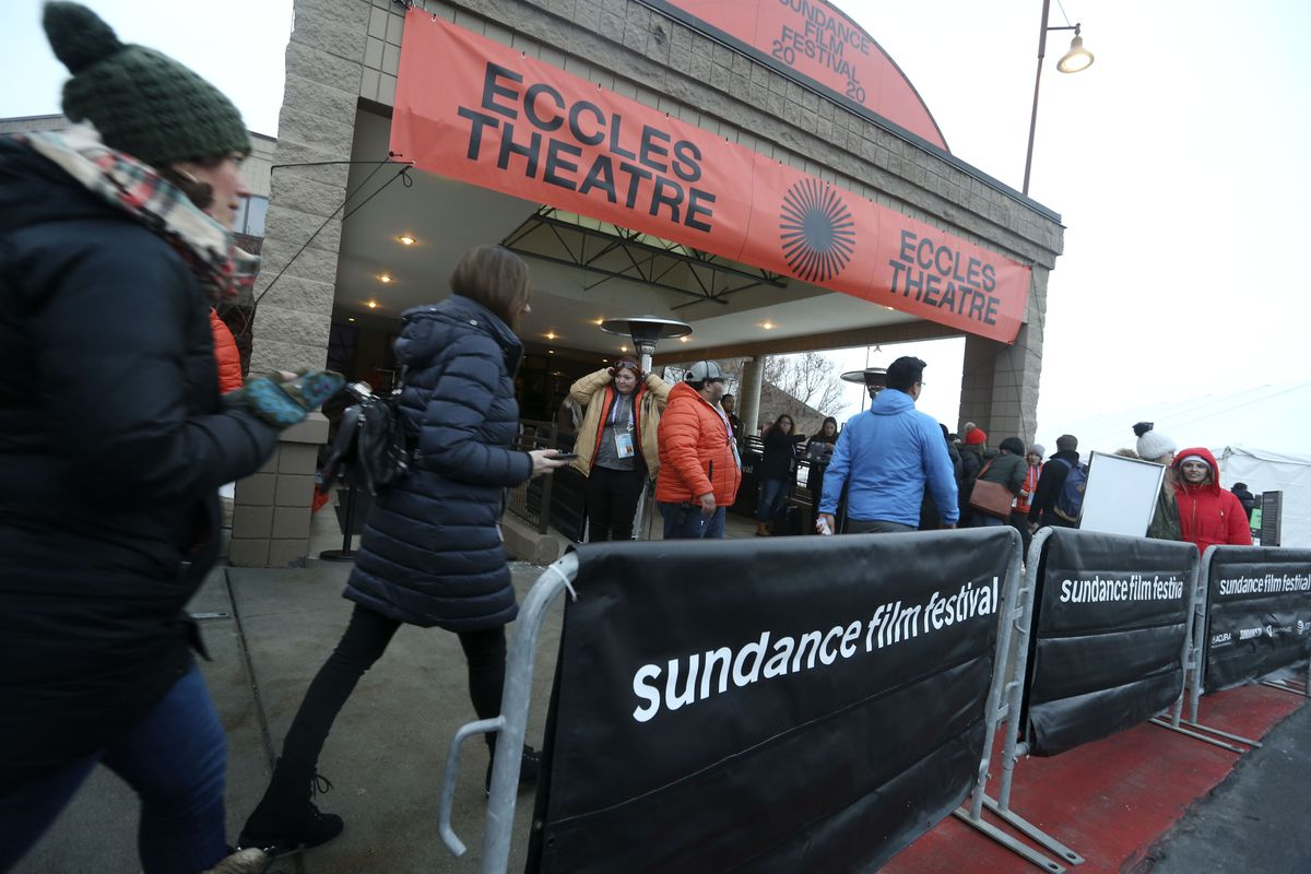 Sundance Film Festival attendees mill around the Eccles Theatre in Park City on Thursday, Jan. 23, 2020.