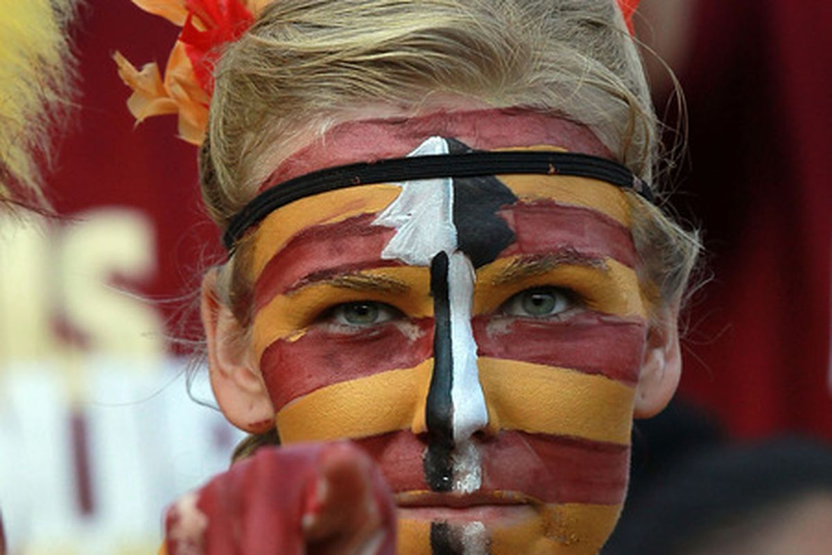 TALLAHASSEE, FL - SEPTEMBER 17:  A Florida State Seminoles fan before a game against the Oklahoma Sooners at Doak Campbell Stadium on September 17, 2011 in Tallahassee, Florida.  (Photo by Ronald Martinez/Getty Images)