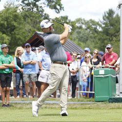 Ryan Moore watches his drive on the first hole in the 2019 Travelers Championship Third Round at the TPC River Highlands in Cromwell, CT on June 22, 2019.