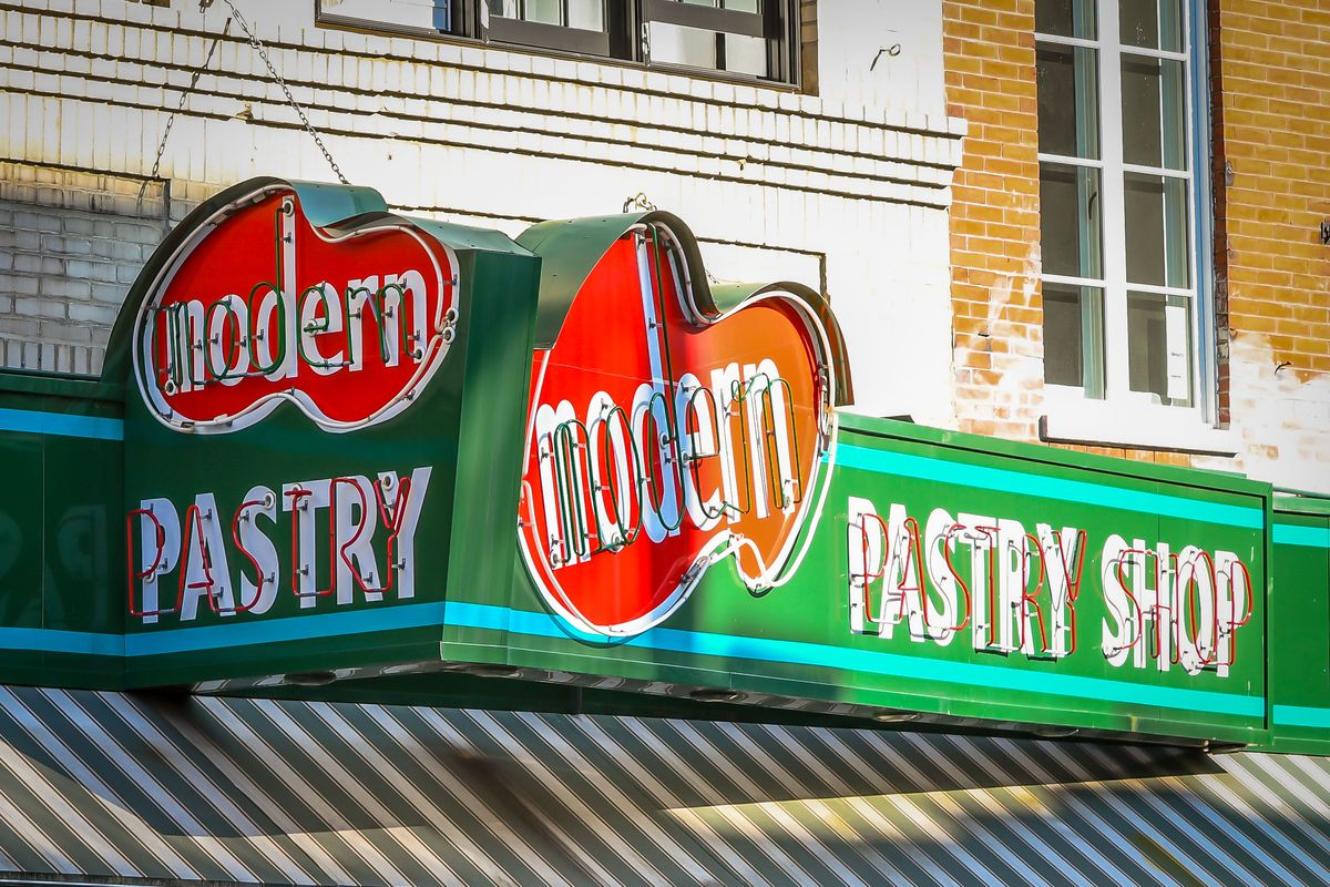A sign for a pastry shop in the North End.