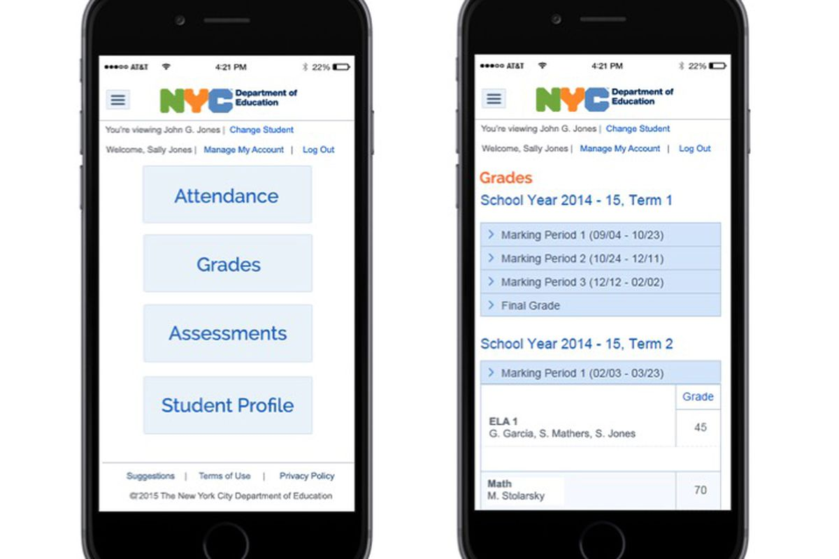 Screenshots of the city's new mobile web site where parents can see basic school data for their children.