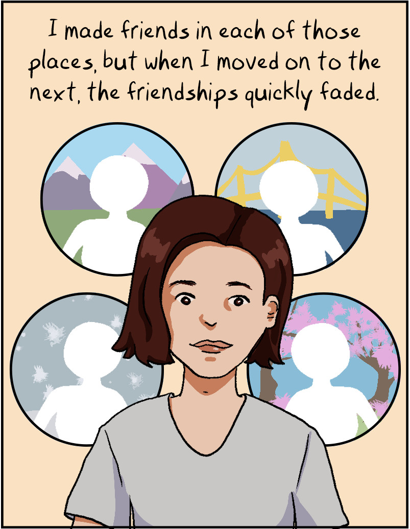 I made friends in each of those places, and when I moved on to the ntext, the friendships quickly faded.