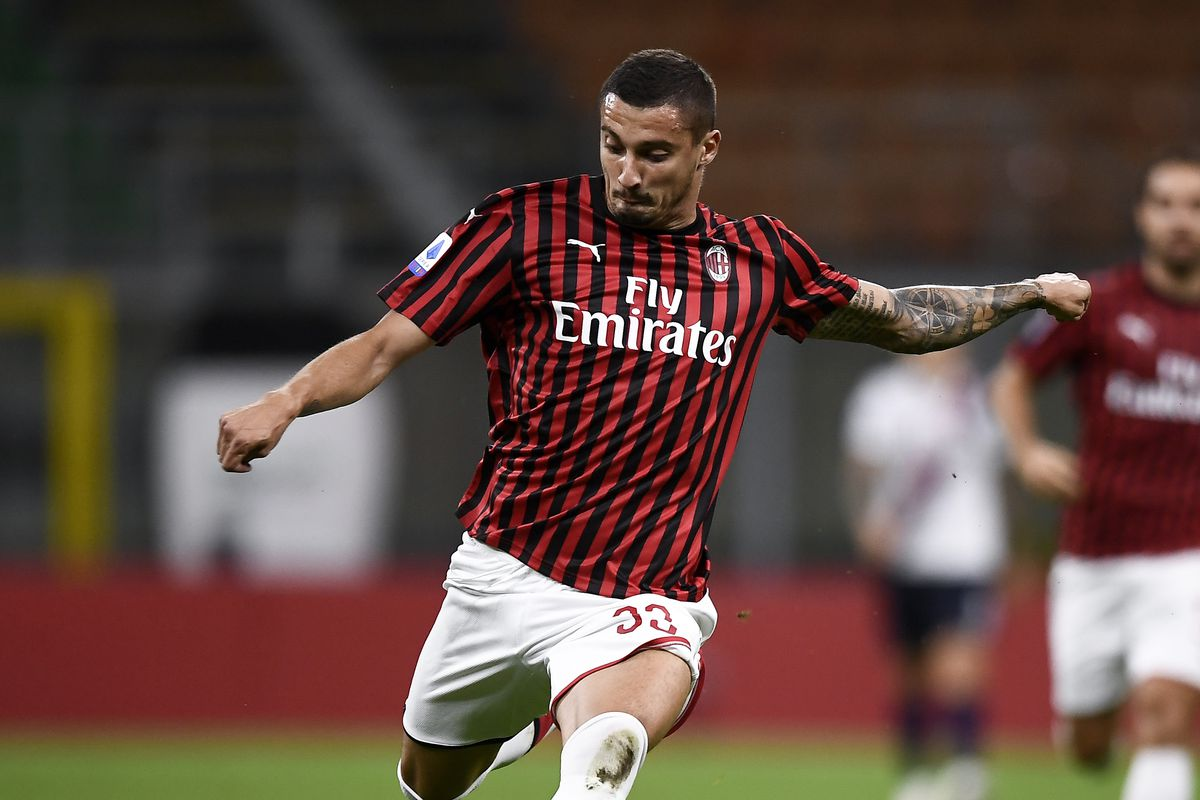 Rade Krunic of AC Milan kicks the ball during the Serie A...
