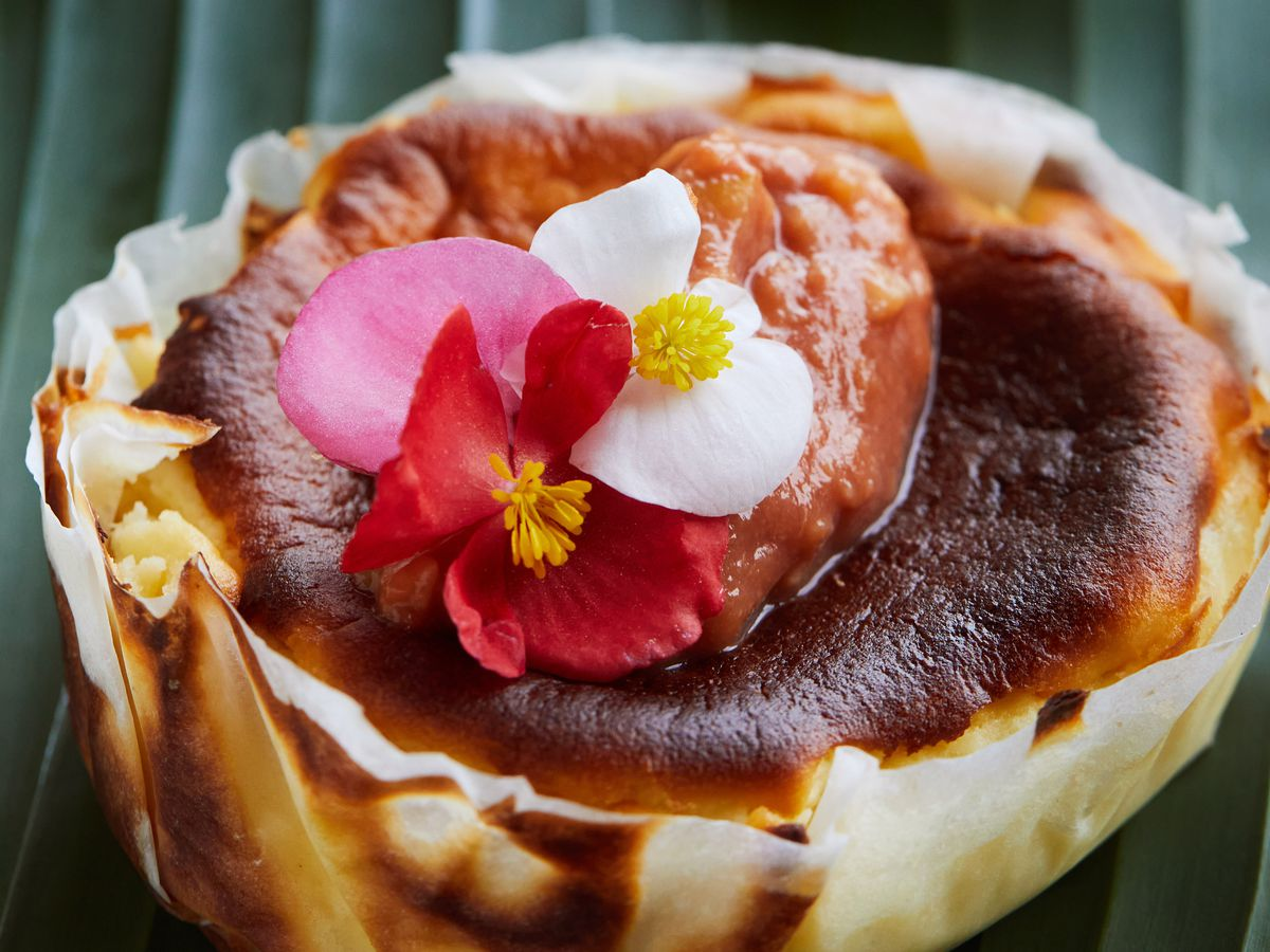 Basque-style cheesecake with guava puree. (Deb Lindsey/for The Washington Post)