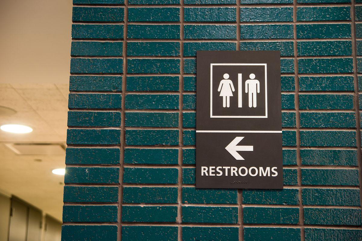 A restroom sign.