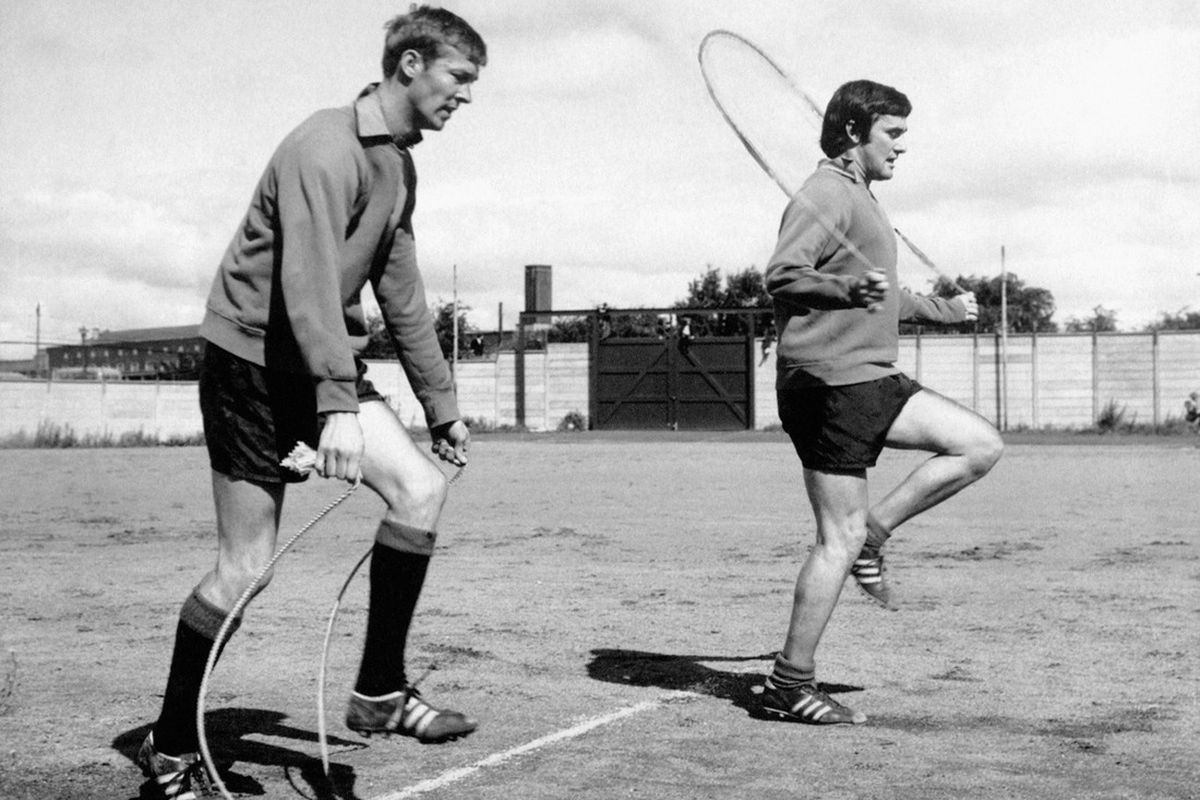 Jim Baxter (right) works out with another familiar face...