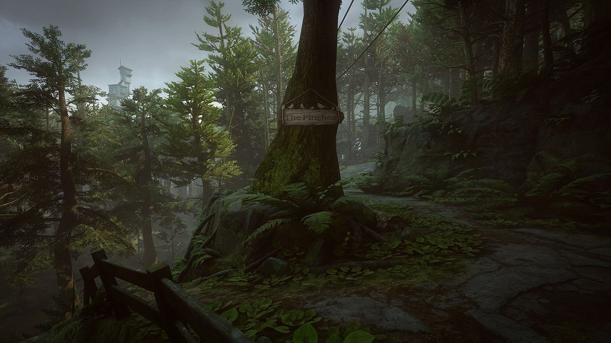 What Remains of Edith Finch - tree with 'The Finches' sign hanging on it