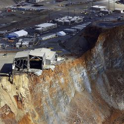A slide at Kennecott Utah Copper's Bingham Canyon Mine which occurred Wednesday, April 10 is shown Thursday, April 11, 2013.