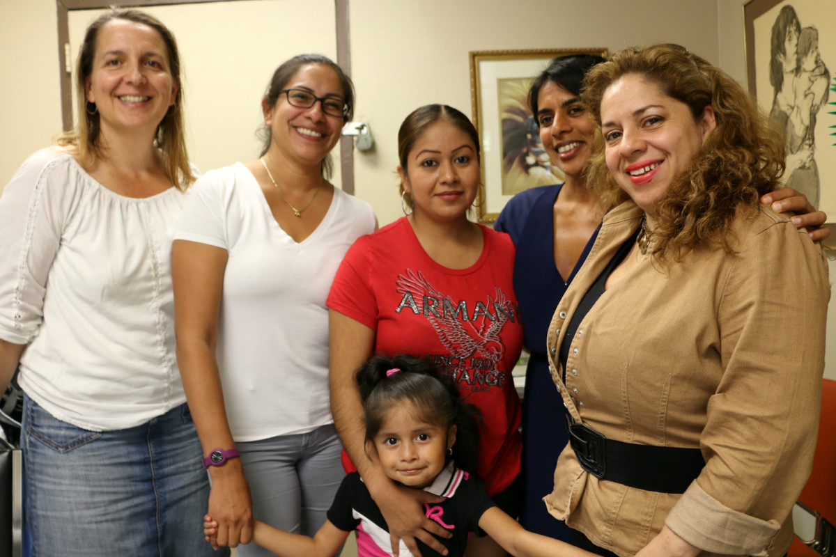 Members of the District 3 Equity in Education Task Force and the Parent Leadership Project. From left: Lori Falchi, Flor Donoso, Claudia Ortega and her daughter Sophia, Ujju Aggarwal, and Mariela Angulo.