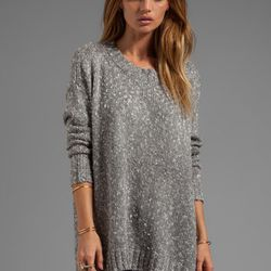 """Michael Stars boucle tweed long sleeve boatneck boyfriend pullover, $178 at <a href=""""http://www.revolveclothing.com/DisplayProduct.jsp?product=MICH-WK156&row=14&column=4&c=Michael+Stars&referrerURL=http%3A%2F%2Fwww.revolveclothing.com%2Fbrandpages%2FMicha"""