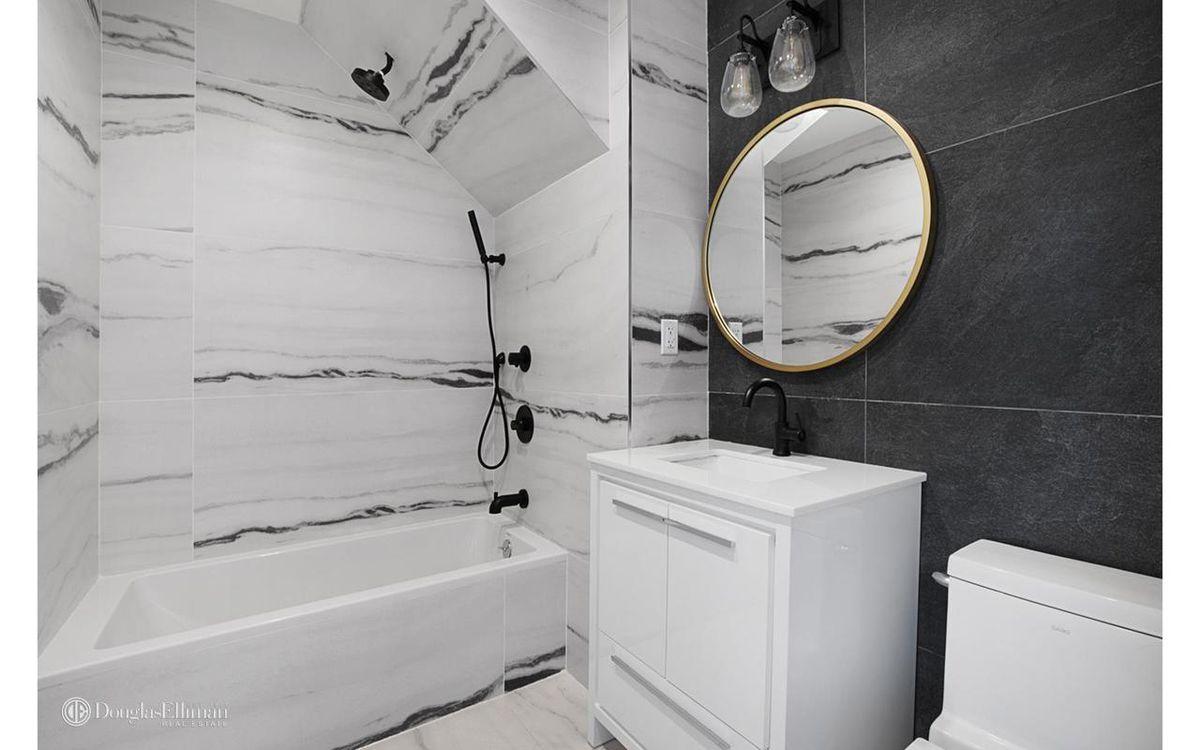 A marble bathroom.
