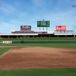 View of the field and LF berm, ready for play
